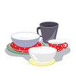 ceramic plates mugs and bowls different shape vector image