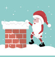 christmas card of santa claus entering the firepla vector image vector image