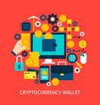 cryptocurrency wallet flat concept vector image vector image