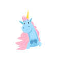 cute lovely magic unicorn character cartoon vector image vector image