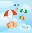 delivery service packages are flying on vector image