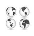 earth globes set planet in different angles vector image
