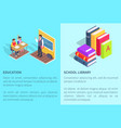 education school library posters students and book vector image vector image