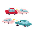 flat cartoon car accident isolated vector image vector image