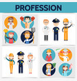 flat professions square concept vector image vector image