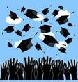 graduate hands throwing up graduation hats vector image vector image
