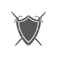 gray shield and two crossed swords under it vector image vector image