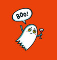 halloween monster cute ghost with cocktail vector image vector image