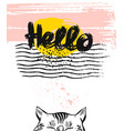 hand drawn textured greeting card template vector image