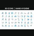 hand hygiene icon set half color half line style vector image vector image
