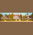 houses in suburb of big city in summer cottage vector image vector image