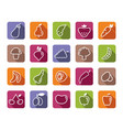 icons of fruit and vegetables vector image