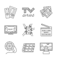 Isolated TV series thin lined outlined icons set vector image vector image