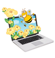 Laptop Bees vector image vector image
