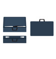 leather suitcases set open closed and side view vector image vector image