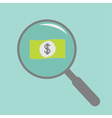 Magnifier and dollar bill Flat design style vector image vector image