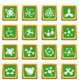 molecule icons set green square vector image vector image