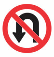 no u turn road sign vector image vector image