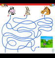 paths maze game with farm animal characters vector image vector image