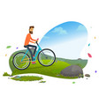 person cycling mountain man traveler vector image