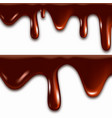 realistic melted chocolate with dripping drops vector image