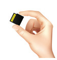 realistic memory card sim in hands composition vector image vector image