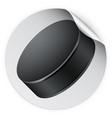 round sticker with ice hockey puck vector image