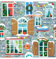 Seamless pattern with decorative Windows in winter vector image vector image