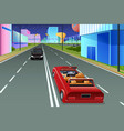 self driving car in futuristic city vector image