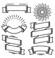 set decorative ribbons and banners in line vector image vector image