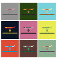 set of icons in flat design for airport plane vector image