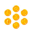 set of realistic golden coins flat style isolated vector image
