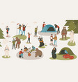 set of tourists or backpackers pitching tent vector image vector image