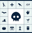 skull icon halloween set simple candle sign vector image