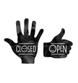 Stop hand Closed and thumb up Open vector image vector image
