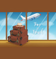 vintage luggage at airport background vector image vector image
