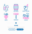 wine thin line icons set vector image vector image