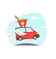 wok delivery truck vector image