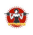 woman holds barbell fitness emblem vector image