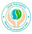 world environment day logo or poster with earth vector image vector image