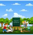 world teachers day with happy kids running on natu vector image vector image