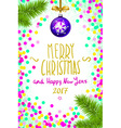 Merry Christmas and Happy New Year 2017 greeting vector image