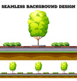 Seamless background with tree on the road vector image