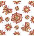 seamless pattern autumn flowers butterflies the vector image