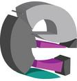 3d font letter e vector image