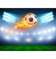 a football in a fiery flame vector image vector image
