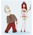 a sexy nurse and senior man vector image vector image