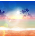 background with sea and palm trees sunset time vector image vector image