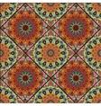 Boho tile flower squares brown green vector image