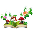 Book with grasshopper and mushroom vector image vector image